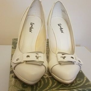 White buckle heel  wore once still in box